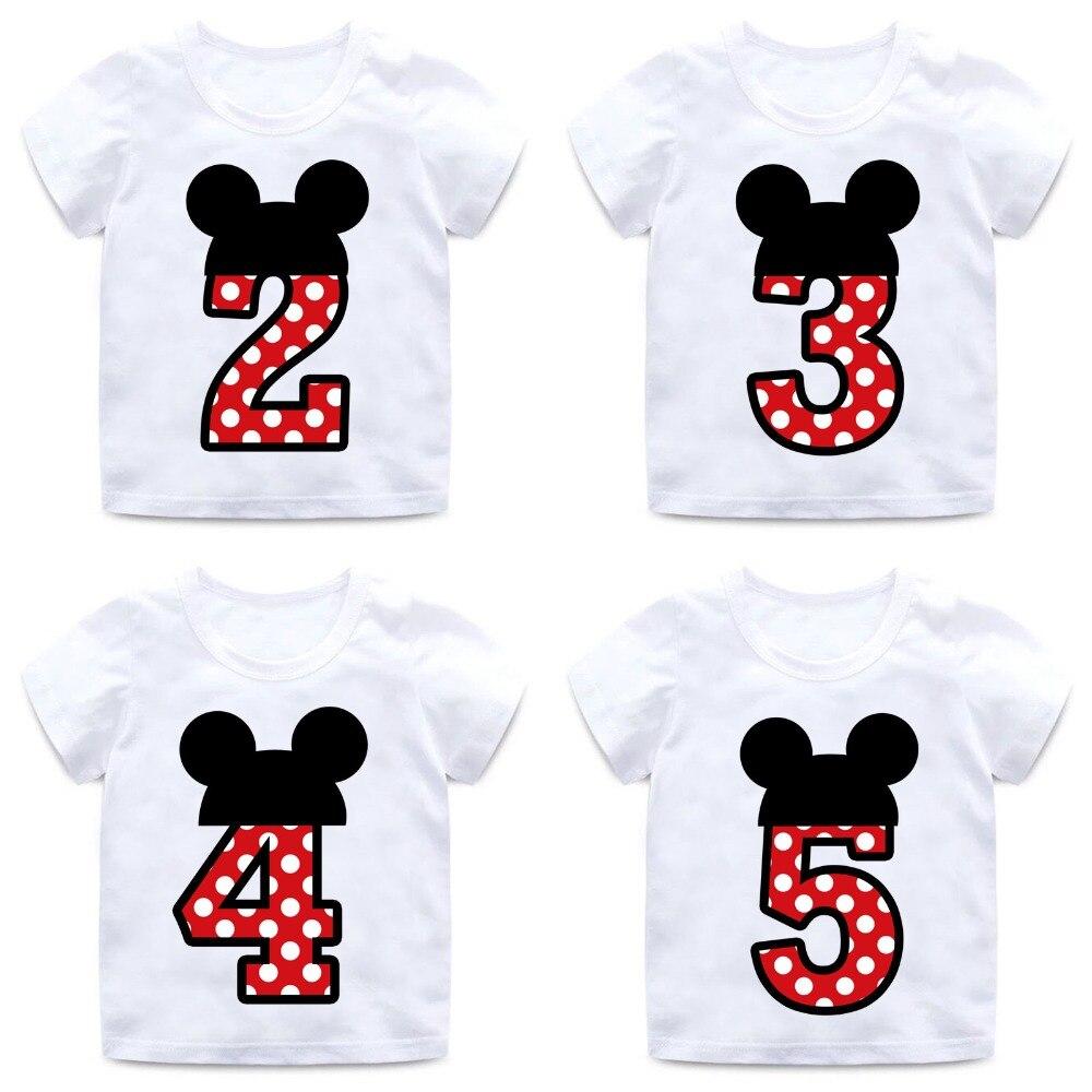 все цены на Boys and Girls Happy Birthday Number 1-9 Letter Print T shirt Enfant Summer White T-shirt Kids Funny Birthday Present,HKP2416