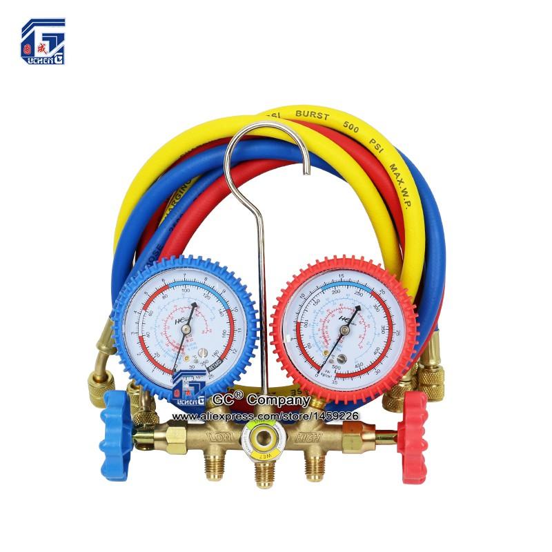 Prix pour R134a R12 R22 R404a A/C Collecteur Gauge Set avec Tuyau pour le Ménage/Automobile A/C Air conditionné