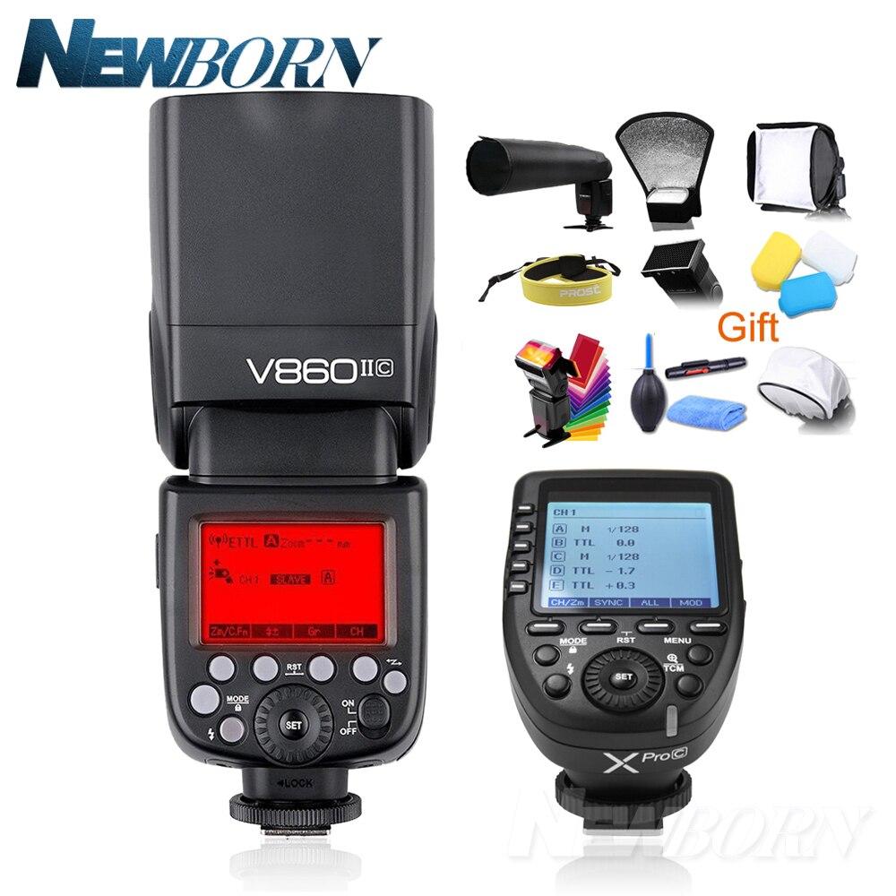 Godox v860ii-c v860iic Speedlite GN60 HSS 1/8000 s TTL вспышка + XPro-C Беспроводной вспышка триггера передатчик для Canon 5D 7D 6D