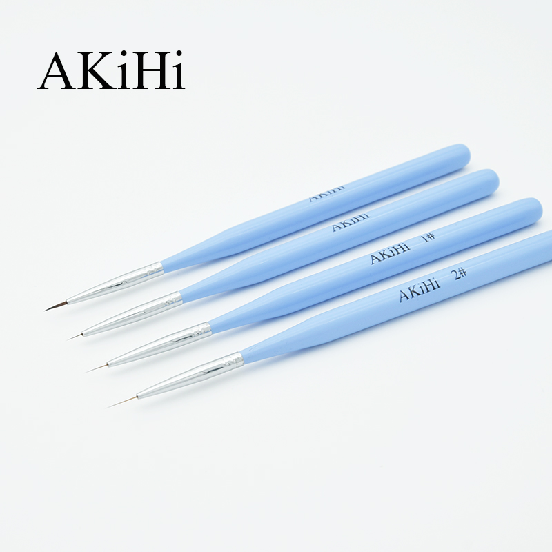 AKiHi Nail Art Liner Painting Brush Drawing Flower Polish Brushes UV Gel Pen Blue Color With Cap