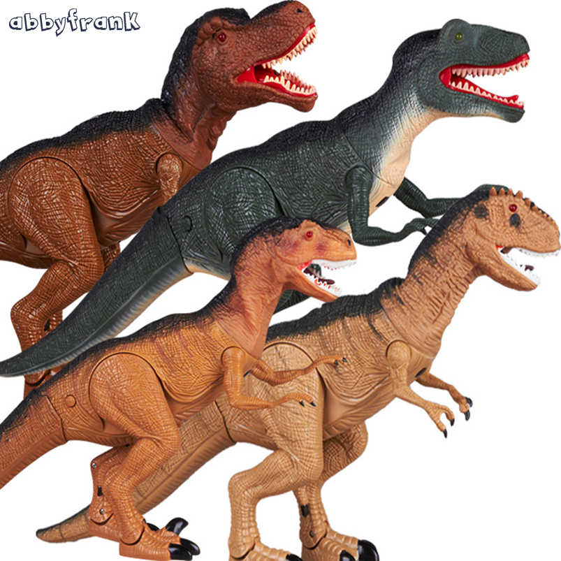 Abbyfrank 52CM Electric Dinosaur Simulation Animal Model Active Mouth Limb Lighting Plastic Docoration Educational Toy For Kid 37 cm tyrannosaurus rex with platform dinosaur mouth can open and close classic toys for boys animal model without retail box