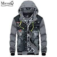 Mwxsd Winter Thick Denim Jacket Men Hooded Sportswear Outdoors Casual Fashion Jeans Jackets Hoodies Cowboy Mens