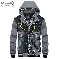 Mwxsd Winter Thick Denim Jacket Men Hooded Sportswear Outdoors Casual Fashion Jeans Jackets Hoodies Cowboy Mens