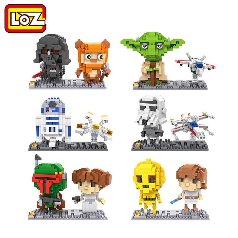 LOZ Star Wars Figures Blocks Model C3PO R2D2 Darth Vader Yoda Stormtrooper Luke Skywalker Leia Organa Wicket Boba Fett DIY 3D mini qute kawaii wise hawk star war darth vader x wing starfighter r2d2 yoda building blocks brick model figures educational toy