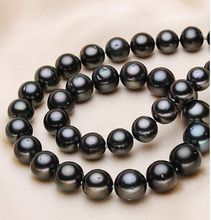 Eternal wedding Women Gift word 925 Sterling silver real 925 silver real natural big Tahitian genuine black pearl necklace 18