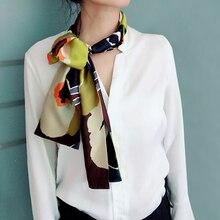 Весна новый узкий длинный шелковый шарф для девочки двойная печать женщин модный атласный галстук шарфы шарф 15см*145см