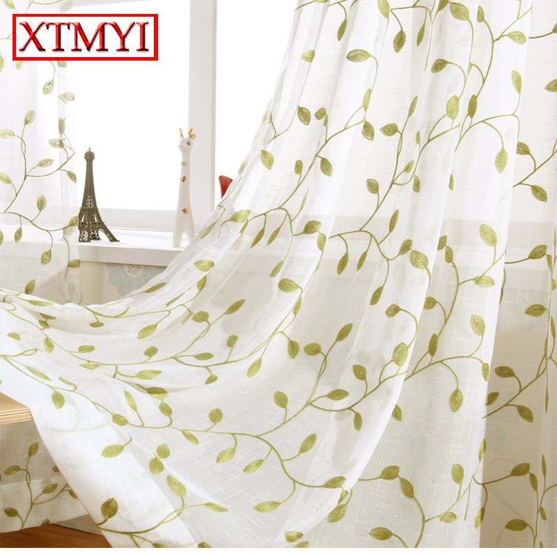 Green Leaves Embroidered Curtains For Living Room Tulle Window Sheer Bedroom Fabric Blinds Drapes In From Home Garden On