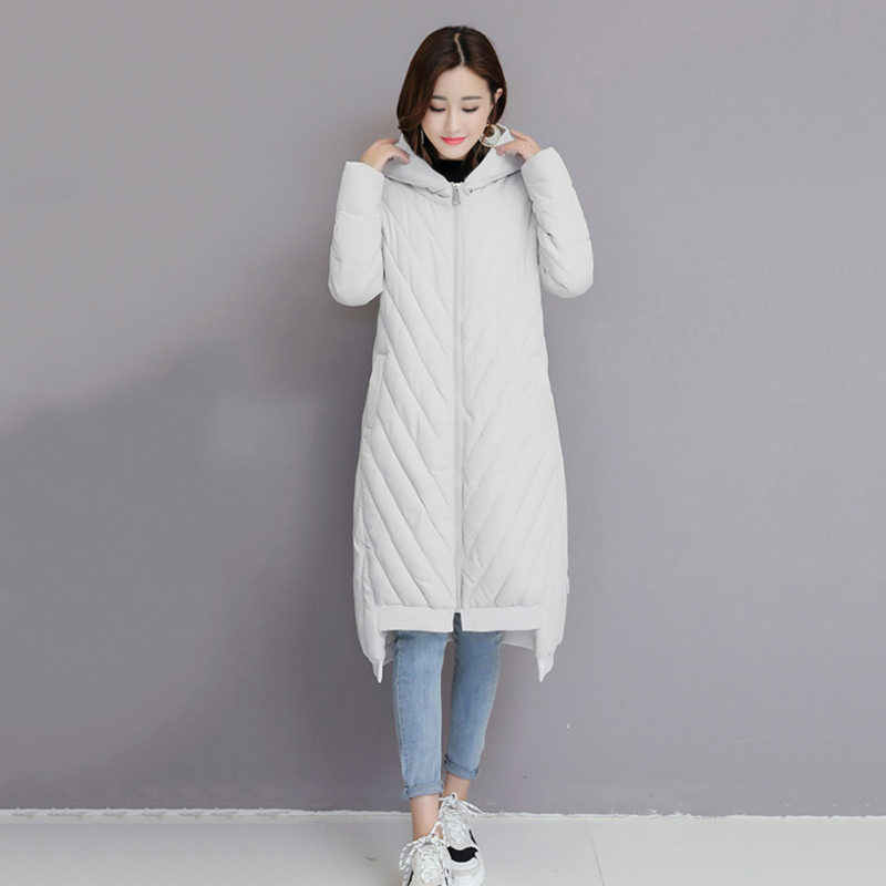 Women's Long Winter Cotton Coat 2019 New Korean Fashion Loose Large Size Solid Color Thick Female Down Cotton Jacket LQ623