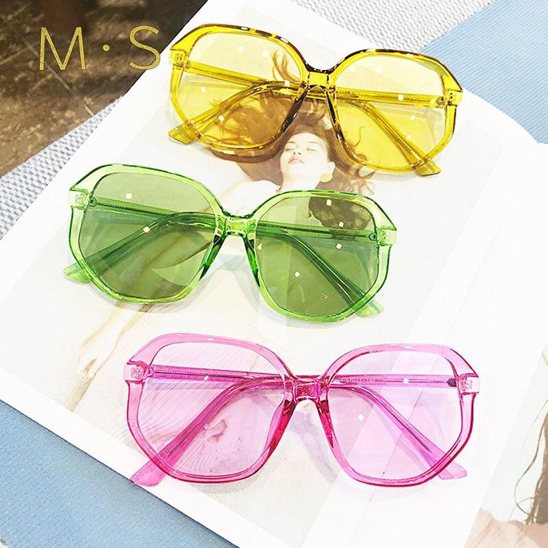 MS women summer transparent candy colored sunglasses oversize square sunglasses female eyewear