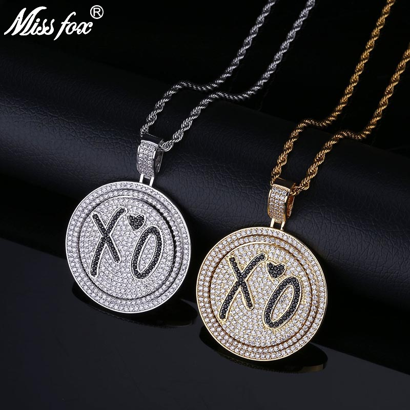 US $33 1 49% OFF|MISSFOX Hip Hop Migos Star Style XO Rap Long Gold Pendant  Necklace AAA CZ Stone Double Layered Rotatable Round Iced Out Pendant-in