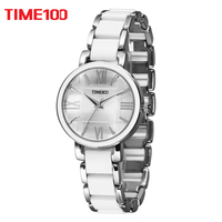 2016 TIME100 Women S Quartz Watches White Simulated Ceramic Bracelet Watch Hours Ladies Casual Watch Clock