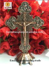 Iglesia Ortodoxa de cobre rojo plateado de Metal Piedras Cruz del Señor Jesucristo, crucifijo de pie, decoración de la iglesia católica cruz