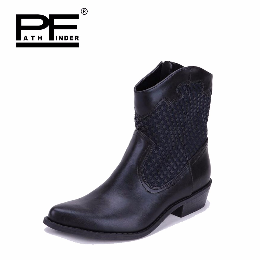 Pathfinder Hot Sale Women PU Leather Boots Slip-On Ankle Platform Flat Boots Ladies European Style Boots Black Motorcycle Shoes