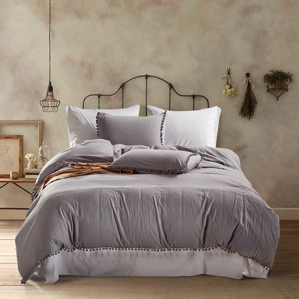 light grey pure color 3 pcs washed solid color bedding set duvet cover set bed cover korean. Black Bedroom Furniture Sets. Home Design Ideas