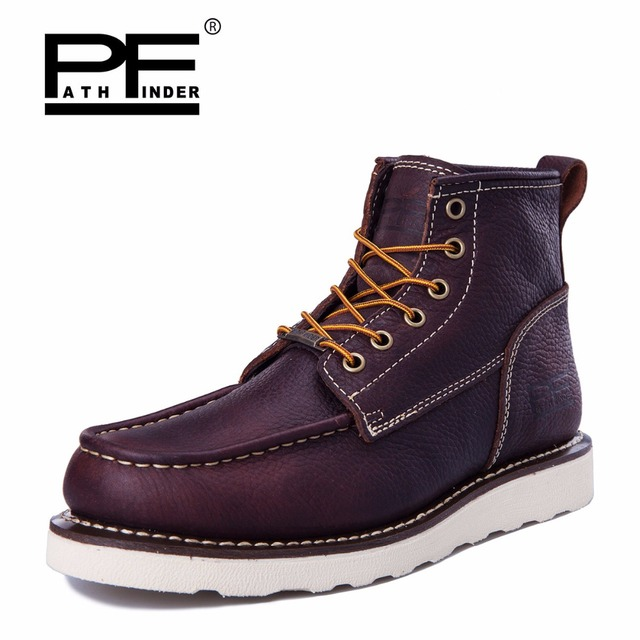 Pathfinder Men Handmade Genuine Cow Leather Ankle Boots Fashion Martin Boots  Men Work   Safety Shoes 029bf23eb021