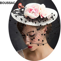 Female Royal flower Fascinators bridal Wedding race hitnator Sinamay Cocktail Fascinator Women veils Hat Party Fedora Cap KNFH23