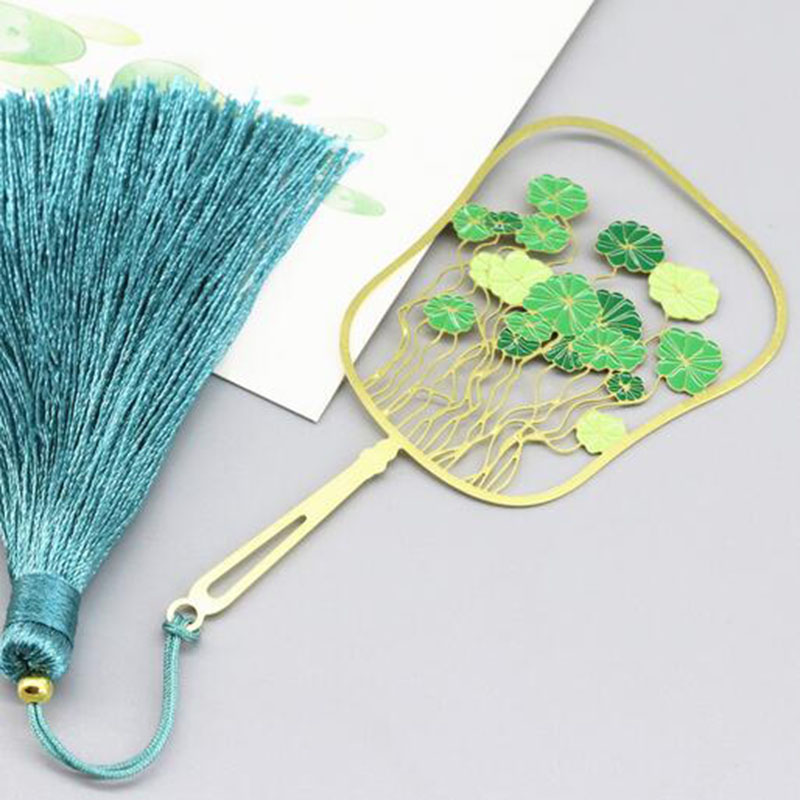 Copper Money Grass Brass Fringed Literature Chinese Style Creative Metal Bookmarks Hollowed Dot Color Fan Bookmark