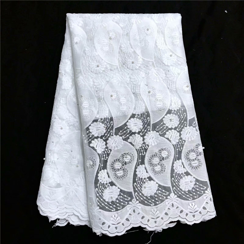 White Allover Appliques beaded french lace fabric with stones African sewing tulle lace classic and unique