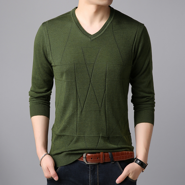 5115faae70 Mens autumn   spring casual v-neck thin sweater pullover male solid long  sleeve sweater jumpers