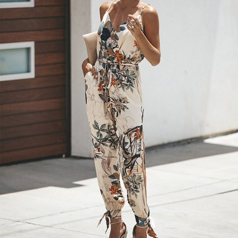 2019 3Xl Plus Size Summer Women Flower Print Jumpsuits Elegant Casual V-Neck Strapless Playsuits Sleeveless Lace Rompers