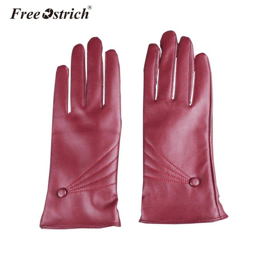 Free Ostrich Pu Gloves Women Winter Touch Screen Soft Smartphone Wrist Gloves Fo