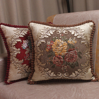 Chenille Fabric Jacquard Embroidered Cushion Covers Royal Elegant Classic Floral Store Home Decorative Luxury Pillow Cover