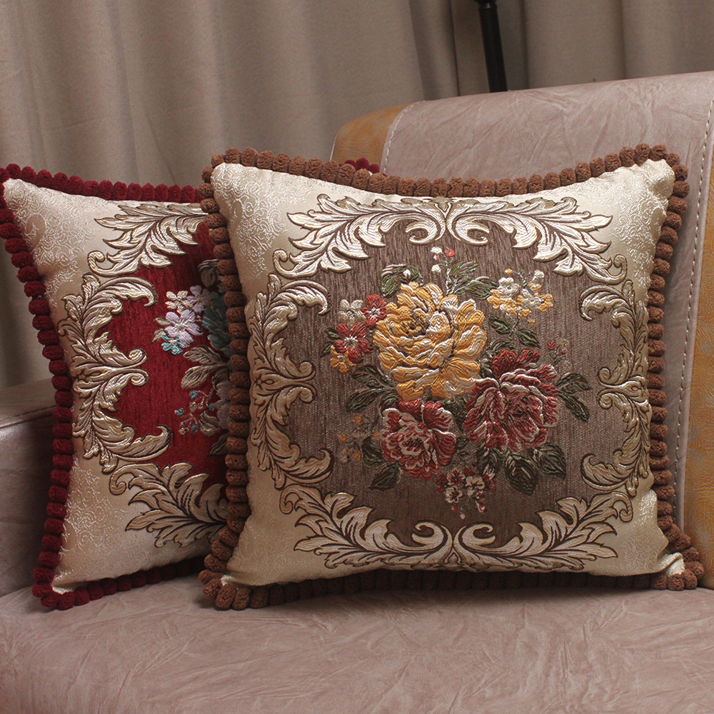 CURCYA Chenille Fabrik Jacquard Embroidered Cushion Covers Royal Elegant Classic Floral Home Decorative Luxury Cover Cover