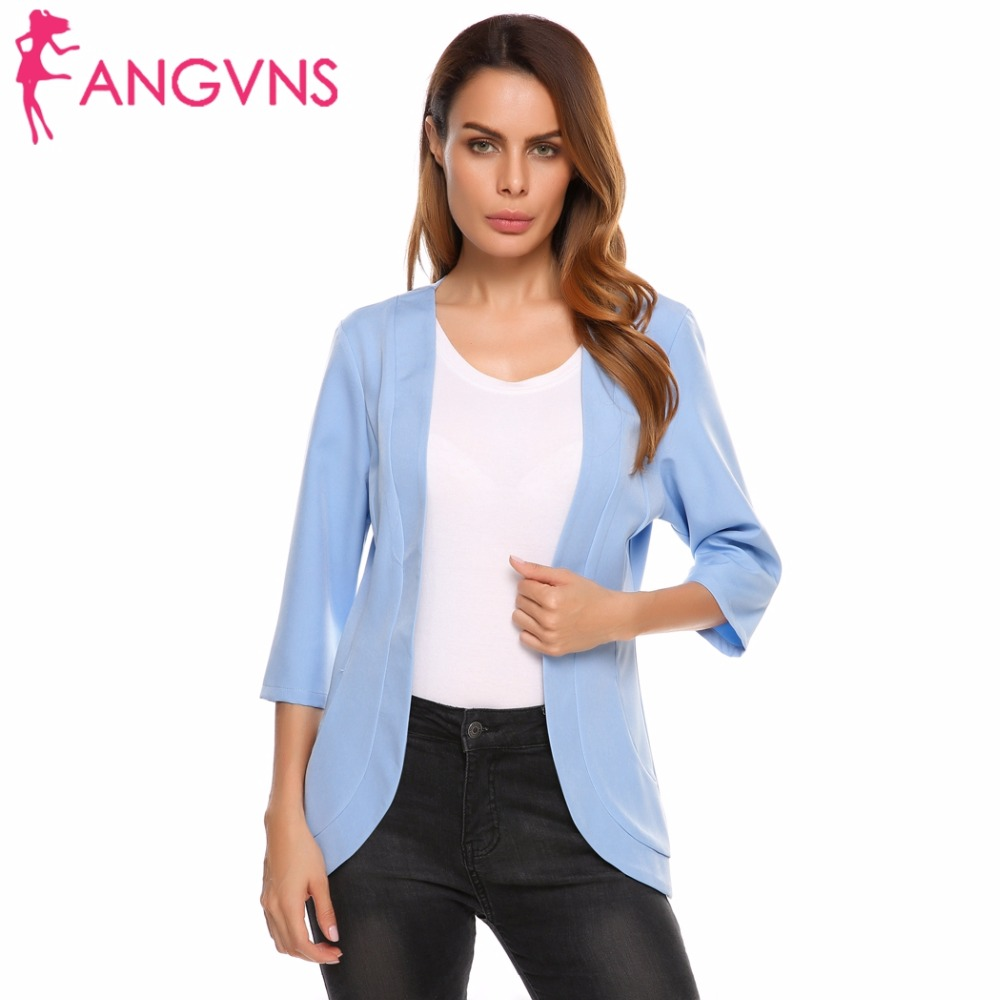 ANGVNS Women's Blazer Autumn Collareless 3/4 Sleeve Formal Jacket Open Front Slim Casual Women Suit Office Lady Blazer Feminino