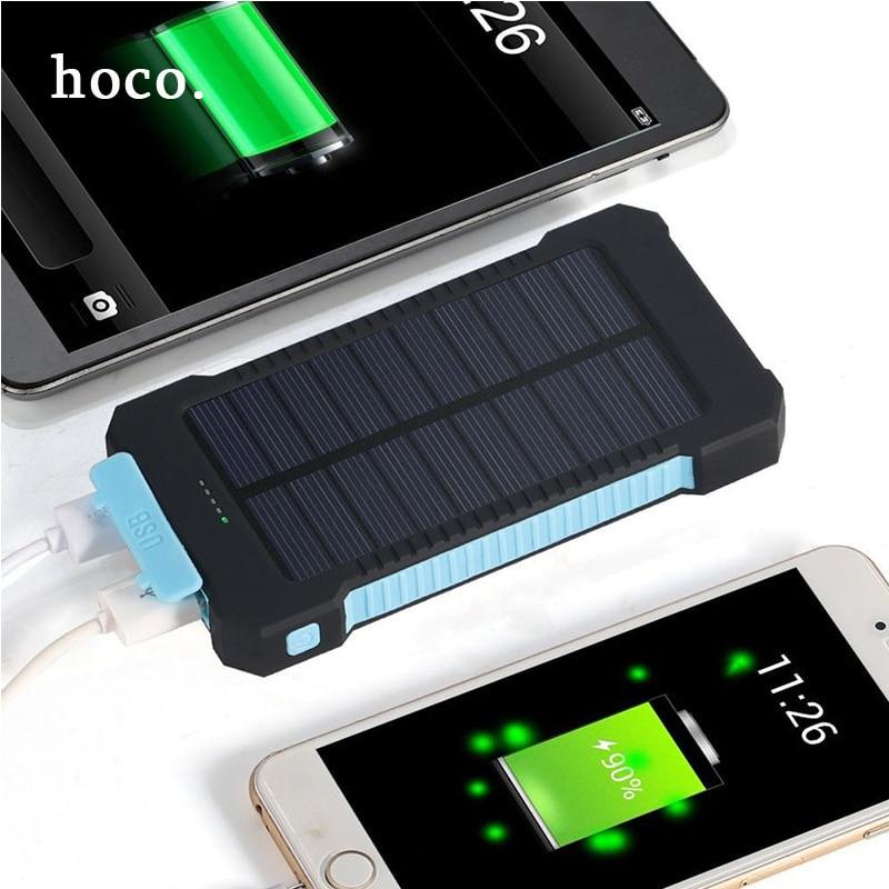imágenes para Hoco NUEVA CALIENTE Impermeable Solar Banco de la Energía 10000 mah Dual USB Powerbank Cargador Solar A Prueba de agua para Todo el Teléfono Móvil Rápida gratis