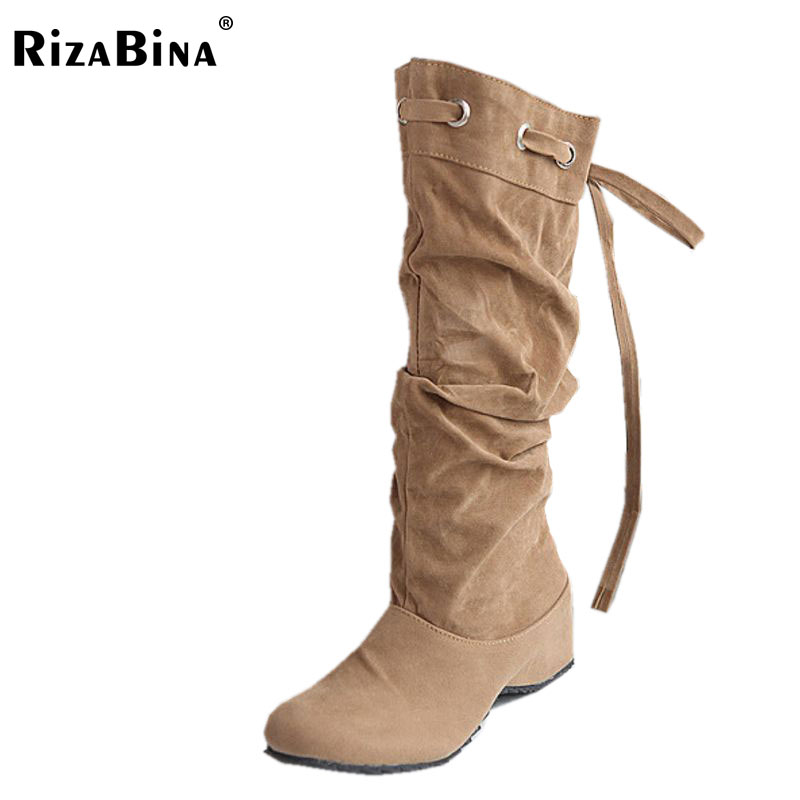 RizaBina size34-43 women flat over knee boots ladies riding fashion long snow boot warm winter brand botas footwear shoes P16072