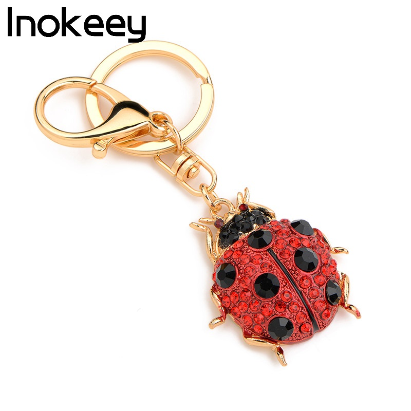 Inokeey Red Alloy Ladybug Women Bag Key Ring Fashion Insects Key Chains Gift For Girl cute key style alloy quartz watch with neck chains 1 377