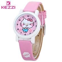 Фотография Kezzi children Watch Cute Cat Leather strap Wristwatches Cartoon Kids Watches Students Quartz Wristwatch k1013