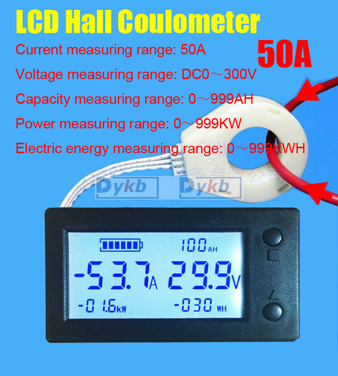 Digital LCD Hall coulombmeter DC 300V 50A Voltmeter Ammeter Battery Power meter module