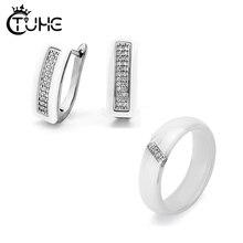 2019 Fashion woman Earrings & Rings Set With Bling Crystal U Ben Slash Rhinestone Earrings Ceramic Rings Set For Women Jewelry rhinestone alloy triangle jewelry set rings