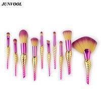 Große Fan Neuen Stil Conch Make-Up Pinsel 10 stücke Regenbogen Gesicht & Eye Pinsel Professionelle Foundation Puder Make-Up Pinsel Kit werkzeuge