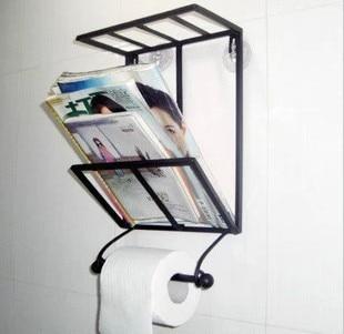 Nails Fashion Vintage Wrought Iron Bookshelf Bathroom Towel Rack Suction Cup Magazine Wall Mounted Shelf
