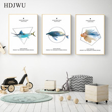 Morden Canvas Painting Wall Picture Abstract Animal Fish Printing Posters Pictures for Living Room  DJ52