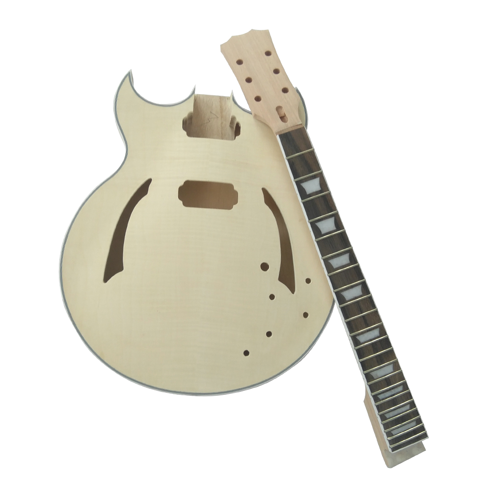 ammoon electric guitar unfinished guitar diy kit semi hollow basswood body rosewood fingerboard. Black Bedroom Furniture Sets. Home Design Ideas