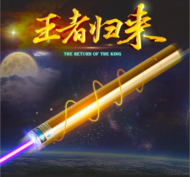 Strong 450nm high power Blue laser pointers light Cigarette Burning Lazer Adjustable Burning Match Golden Body