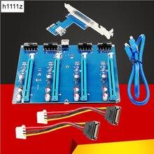 Pci e 1x kit de expansão pci express 1 a 4 porta pci express switch multiplicador hub riser cartão pcie x1 para x16 adaptador para btc miner