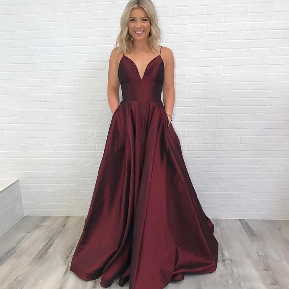 Bbonlinedress Sexy Backless   Prom     Dresses   2019 Spaghetti Straps Evening   Dress   Floor Length Burgundy Evening Gowns