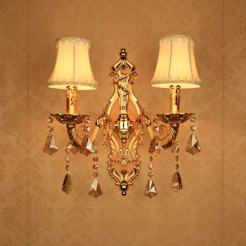 brass candle sconces modern mirror light bathroom lamp vintage bedroom light  led modern crystal candle sconce study room brass buckle titanium plate gold crystal wall lamp k9 crystal sitting room bedroom mirror light