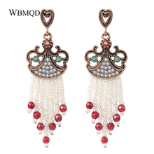 Vintage Red Natural Stone Tassel Earrings For Women Antique Gold Crystal Hollow Heart Handmade Beaded Jewelry Love Gift