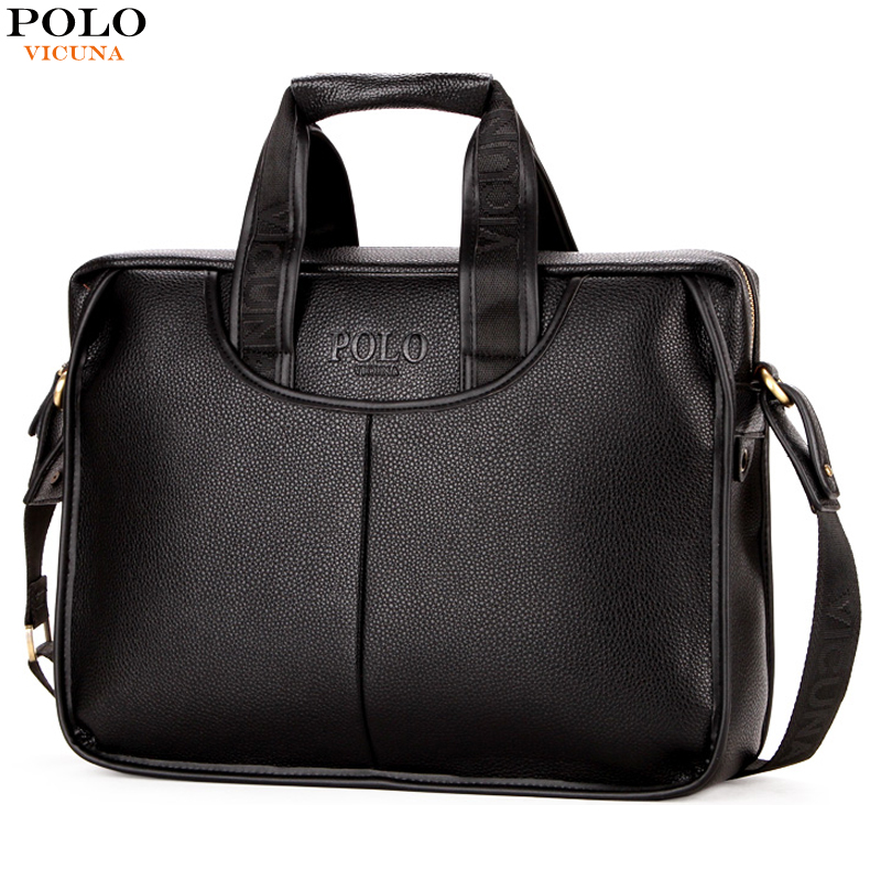 VICUNA POLO Promotion Famous Brand Handbag High Quality PU Leather Men Tote Bag borse Classic Sewing Thread Design Men Sling Bag цена