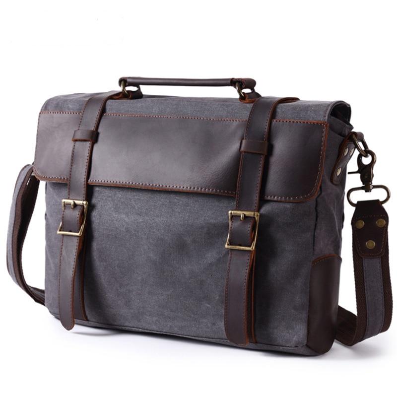 Briefcase Laptop Bags Briefcase Leather Men Briefcase Genuine Leather  Waterproof Canvas Men