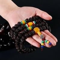 108 Tibétain Bouddhiste bracelet Rudraksha Perles Prière Perles Mala Bouddha Chapelet ambar multi couches enveloppé bracelet Bijoux