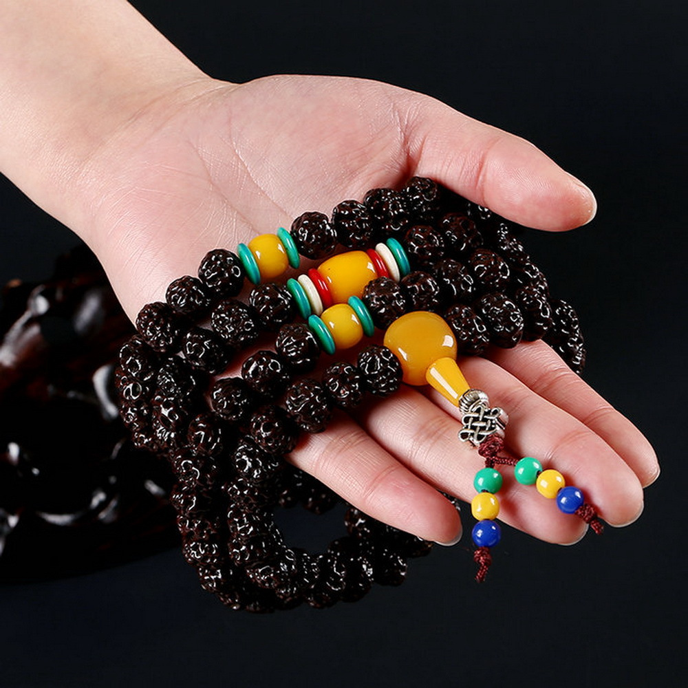 108 Tibetan Buddhist bracelet Rudraksha Beads Prayer Beads Mala Buddha Rosary ambar multi layered wrapped bracelet Jewelry купить в Москве 2019