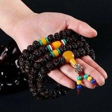 108 Тибетского Буддизма браслет Рудракши Четки Мала Будда Четки амбар многослойные браслет, завернутый Ювелирных Изделий