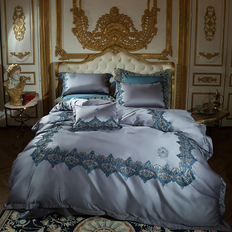 1000TC Egyptian Cotton Lace Luxury Royal Bedding Set Embroidery Queen/King Size