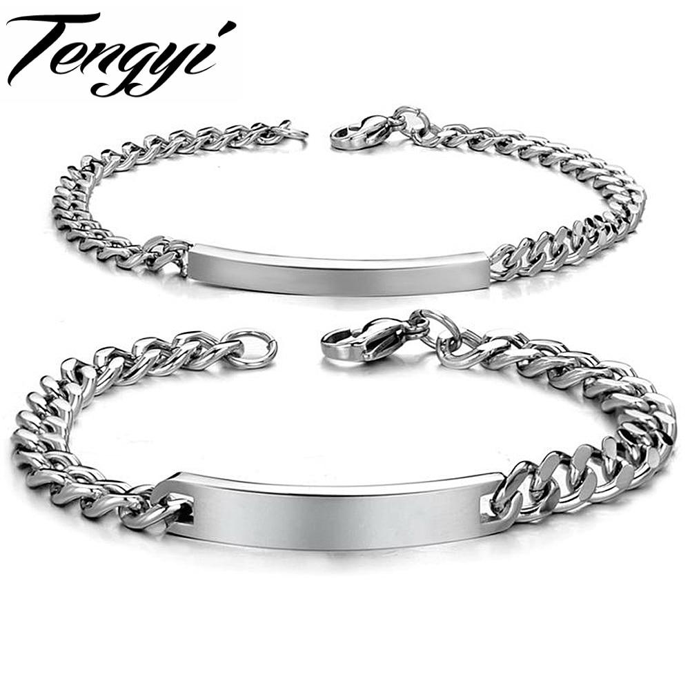 Mode Populer Kekasih Pasangan Gelang Id Concise Baja Titanium Kalung Iks Tingkat 1 Bangle Korea Jewelry Persahabatan Hadiah Wisuda Ty604